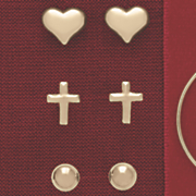 10k gold 3 pair ball  cross and heart post earring set