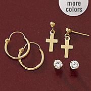 10k gold 3 pair hoop  cross and cubic zirconia post earring set