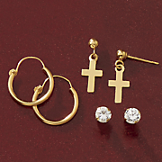 10k gold 3 pair hoop  cross and cubic zirconia post earring set