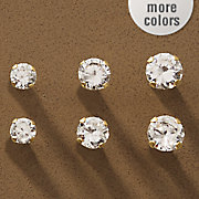 10k gold 3 pair cubic zirconia post earring set