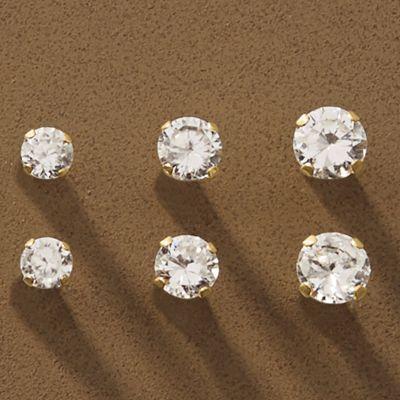 10K Gold 3-Pair Cubic Zirconia Post Earring Set