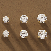 10k gold 3 pair cubic zirconia post earring set
