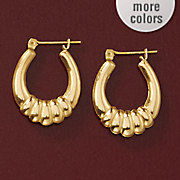 14k gold ribbed oval hoops
