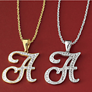 personalized  initial diamond pendant