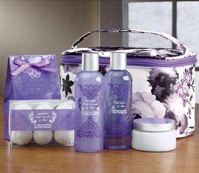 Lavender Floral Print Bath Set