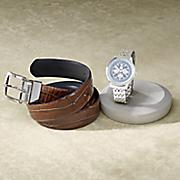 stacy adams belt watch gift set