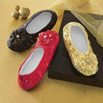 Women's Sequined Footie Slippers