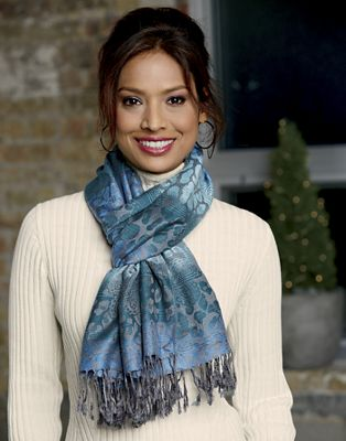 Oblong Scarf with Paisley
