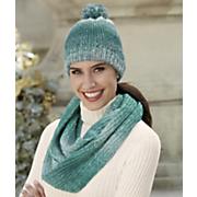 women s ombre scarf   pom pom hat