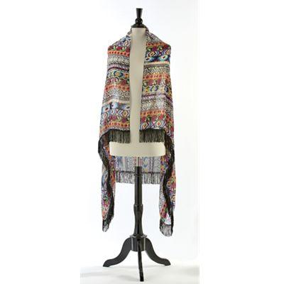Floral Convertible Fringe Scarf Vest