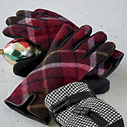 women s plaid wool microfleece glove
