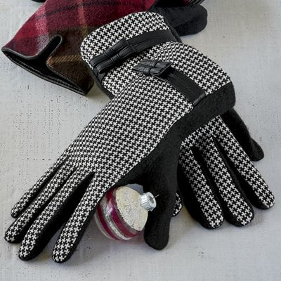 Women's Houndstooth-Lined Glove
