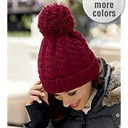 women s pom pom knit hat