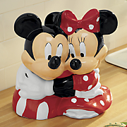 hugging mickey and minnie cookie jar