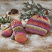 Colorful Ombre Knit Infinity Scarf and Hat & Mittens Set
