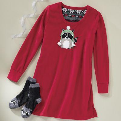 Women's Raccoon Microfleece Nightshirt and Socks Set