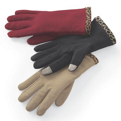 Women's Touch Sensor Leopard Trim Glove