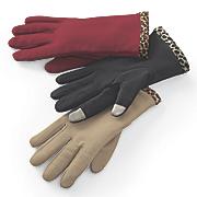 women s touch sensor leopard trim glove