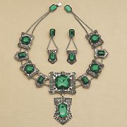 green faux marcasite necklace