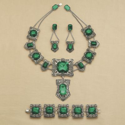 Green Faux Marcasite Jewelry