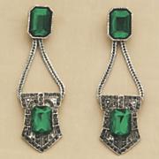 green faux marcasite earrings