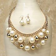 faux pearl crystal necklace earring set 5