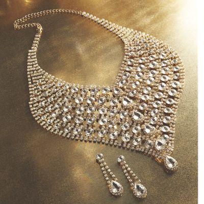 Rhinestone Necklace/Earring Set