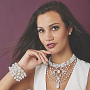 faux pearl crystal hinged bangle