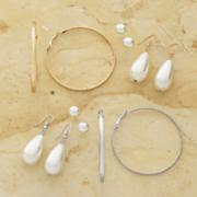 3 pair faux pearl earring hoop set