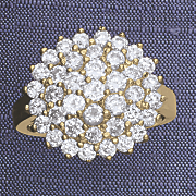 cubic zirconia round cluster ring