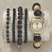 black bead watch bracelet set