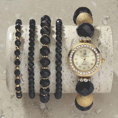 Black Bead Watch/Bracelet Set