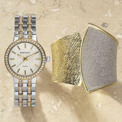 Two-Tone Glitter Watch/Hinged Cuff Set