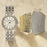two tone glitter watch hinged cuff set