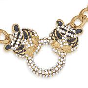tiger crystal necklace watch set
