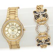 tiger crystal bracelet watch set