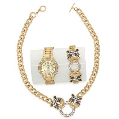 Tiger/Crystal Necklace and Bracelet Watch Set