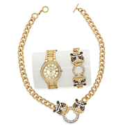 tiger crystal necklace and bracelet watch set