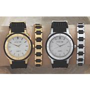 men s 2 pc  stainless steel rubber watch bracelet set