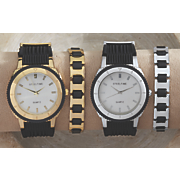 men s 2 pc  stainless steel rubber watch bracelet set