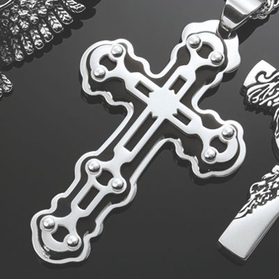 Men's Stainless Steel/Black Cross Pendant