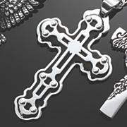 men s stainless steel black cross pendant