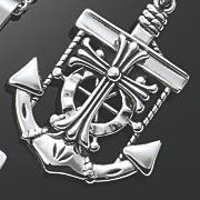 men s stainless steel anchor cross pendant