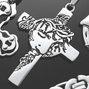 men s stainless steel face cross jewelry