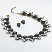 black clear crystal necklace earring set