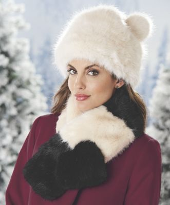 Faux Fur Pom Hat and Tatianna Faux Fur Collar