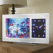 lit  aquarium  with clock