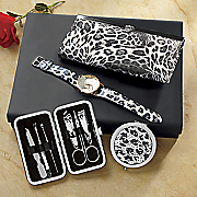 white leopard print gift set