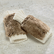 fingerless knit gloves with faux fur trim