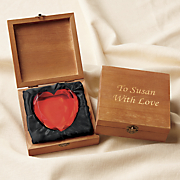 personalized box with glass heart
